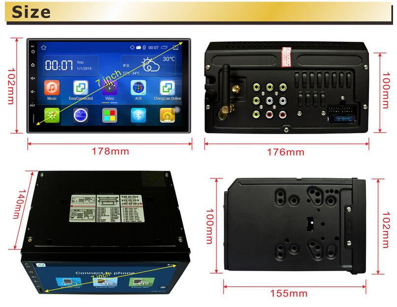 Quad Core 1024*600 Android 4.4 For Car PC Tablet 2din Universal Tap GPS Navigation BT Radio Stereo Audio Player auto radio 2 din