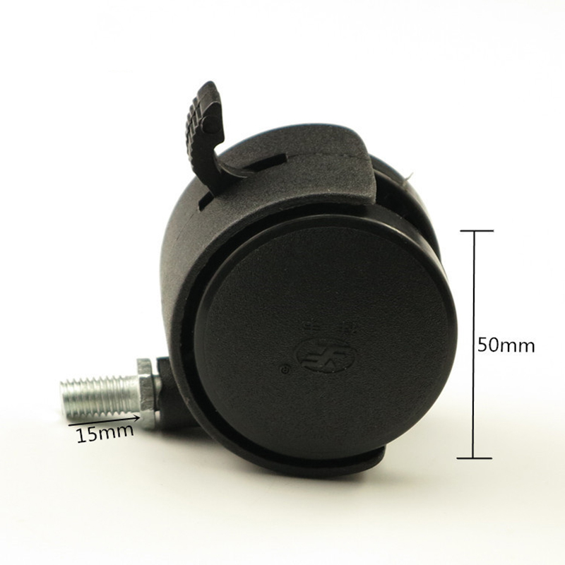 A Black Plastic 50mm Replacement Brake Silent Swivel Casters Office Chair Sofa Wheels Rolling Roller Caster Furniture Hardware 2pcs black plastic 40mm replacement angle brake swivel casters office chair sofa wheels rolling roller caster furniture hardware
