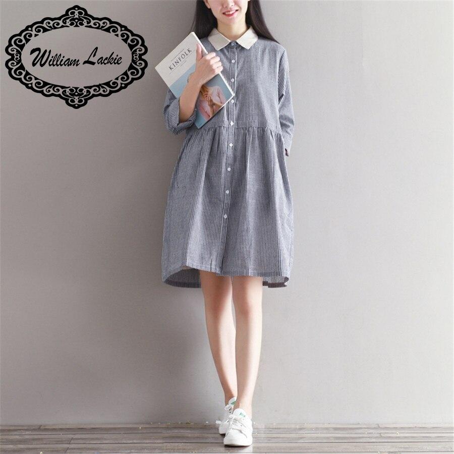 New modern dress styles - New 2017 Plus Size Spring Women Girls Dress Cotton Modern Stylish Malachite Large Size Preppy Wind Stripe Dresses