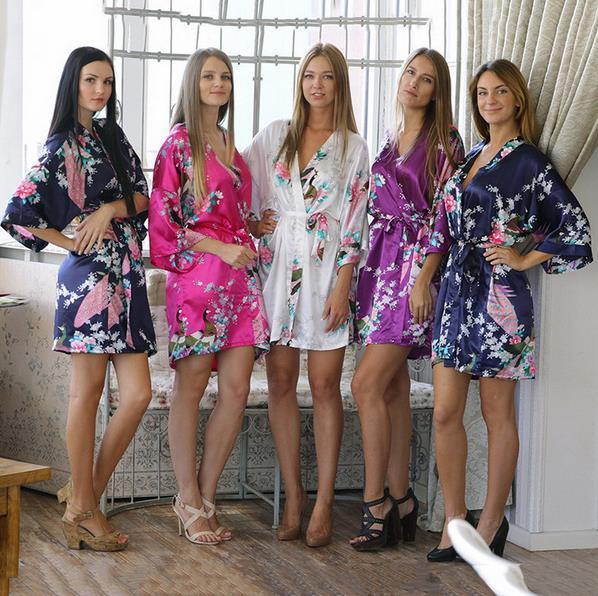 14 Цветов Женщины Атласная Кимоно Халаты Павлин Шаблон Печати Свадебное Платье Невесты Шелк Ночь Платье Ночной Рубашке Bathbobes
