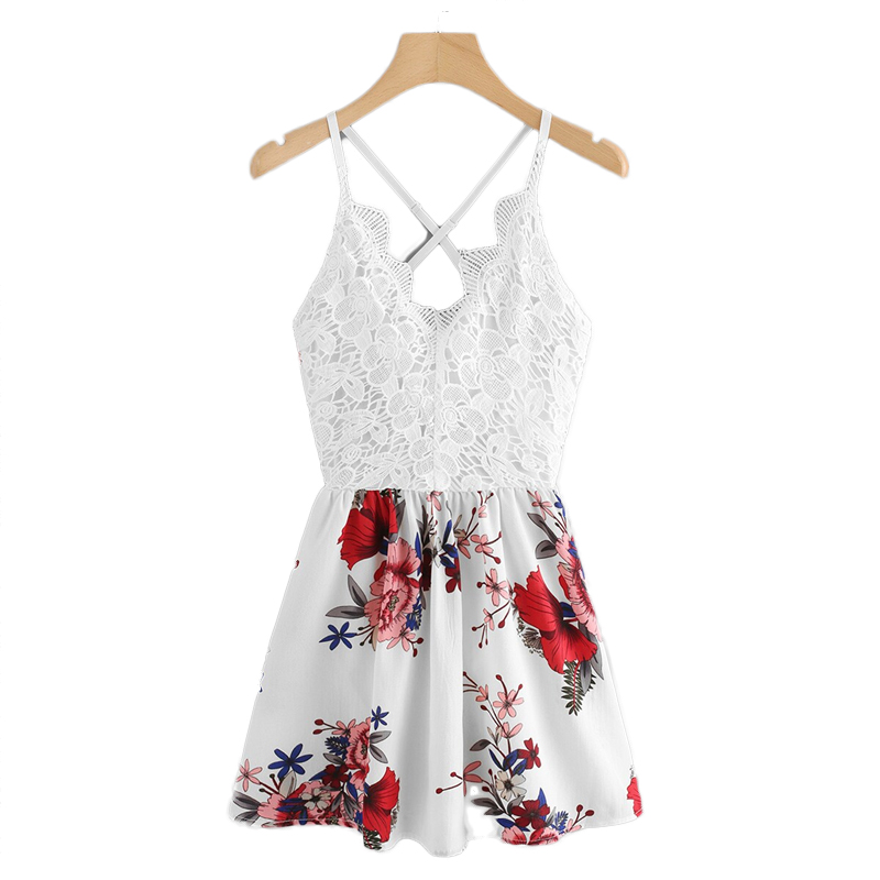 COLROVIE Criss Cross Backless Floral Print Contrast Lace Boho Cami Dress Women 2019 Summer Sleeveless Holiday Slip Mini Dresses