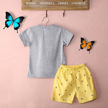 2Pcs Set!! Casual Anchor Letters T-shirt O Neck Top+ Yellow Shorts Pants 2-7Y