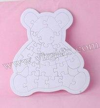10 unids/lote, crea tu propia rompecabezas oso, pintura inacabada hobby, juegos de puzzle. Kindergarten artesanía. juguetes educativos tempranos. venta al por mayor