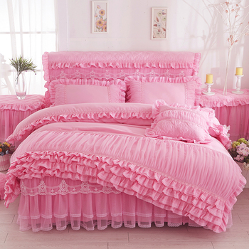 Home Princess Pleated Lace comforter Bedding sets Set Queen King Soft Bed Skirt Duvet Cover Set with Pillowcases 4pcs Bed Set