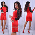 Women 2016 Fall Elegant Lace Stitching Long Sleeve O-neck Sexy Tight Dress red black Vestidos Plus Size