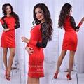 Women 2016 Fall Elegant Lace Stitching Long Sleeve O-neck Sexy Tight Dress red black Vestidos Plus Size