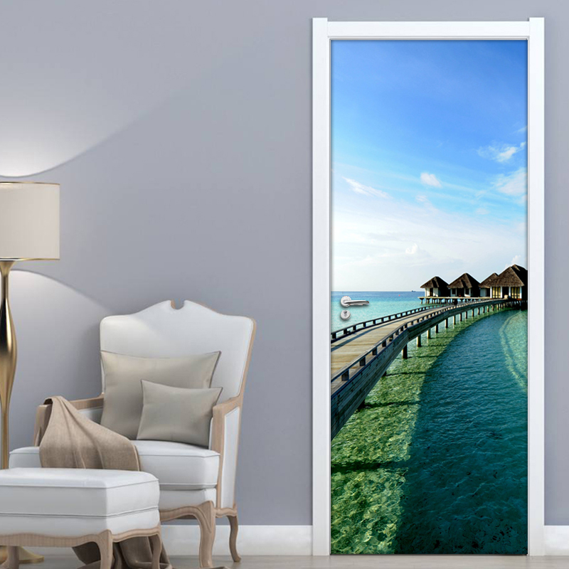 Large Sea View 3D Wall Mural Wallpaper For Living Room Bedroom Door Decor Mural Sticker Self-adhesive Waterproof Wall Paper Roll pentium horse living room bedroom door mural wallpaper sticker pvc self adhesive waterproof wall papers home decor wall painting