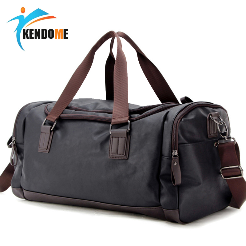 Hot Men Large PU Leather Sports Gym Bag Fitness Training Yoga Bags Duffel Tote Travel Handbag Male Outdoor Shoulder Bag