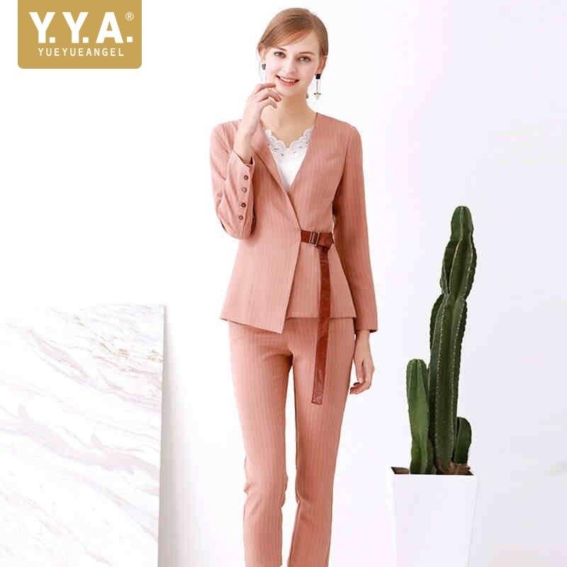 2019 New Fashion Women Suit Elegant Slim Fit Striped Blazer Ankle Length Pants Two Piece Sets Business Office Lady Suit Sets