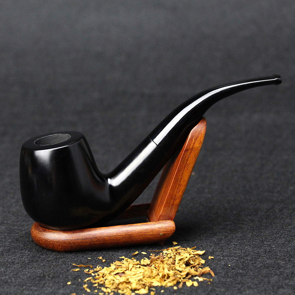 New Ebony Wood Pipe 15cm Bent Black Smoking Pipe Tubo di tabacco fatto a mano 9mm Filtro di legno Pipe con strumenti Smoke Accessorio SP-508