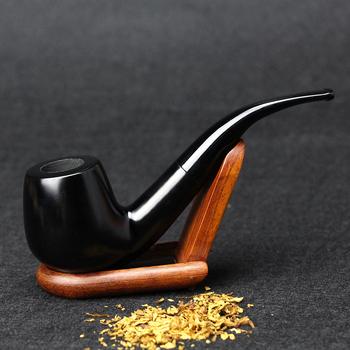 Nowe drewno hebanowe 15cm wygięta czarna fajka Handmade fajka do tytoniu 9mm filtr drewniana fajka z narzędziami dym akcesoria SP-508 tanie i dobre opinie hewang Drewna FT-508Black Lakier Bent rodzaj