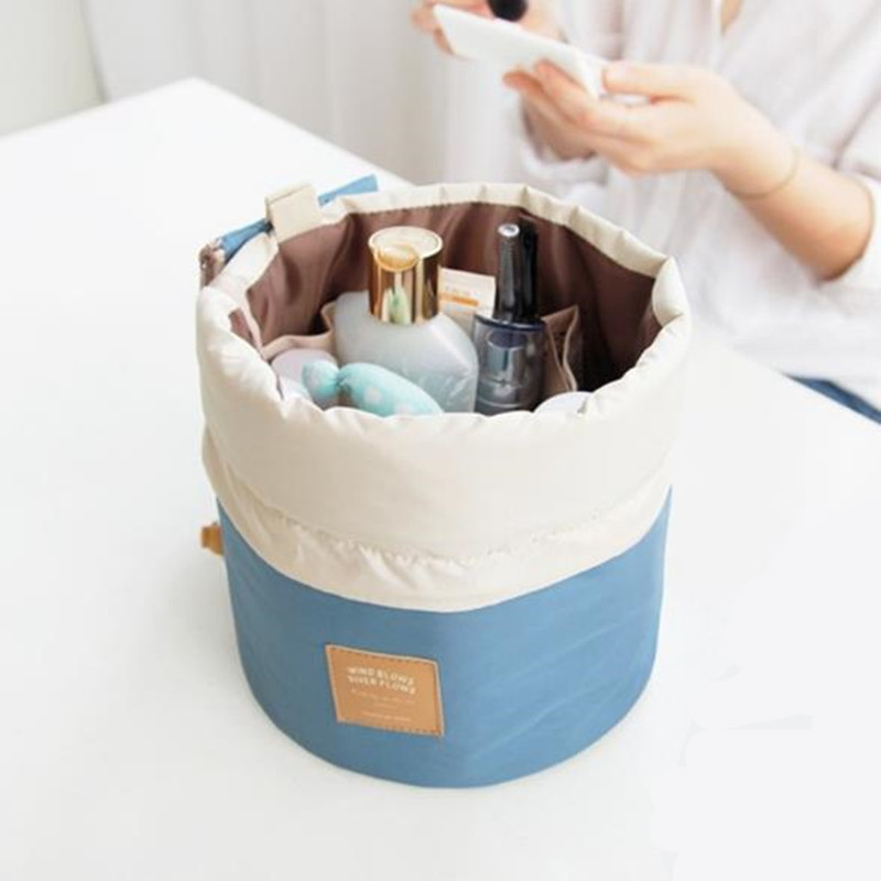 Hot Travel Outside The Large Capacity Round Makeup Bag Waterproof Cylinder Toiletry Storage Bags Of Cosmetic Sundries Organizers