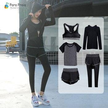 Cinco Piece Set Yoga Roupas Treino Sportswear para As Mulheres Sutiã Esportivo de Fitness para Mulheres Ginásio Treino Top Safra Mulheres