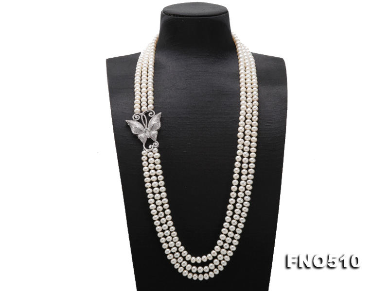 Handmade Charming 32-34-inch long sweater chain 7.5-8mm Rhinestone 3rows Natural White Freshwater Pearl NecklaceHandmade Charming 32-34-inch long sweater chain 7.5-8mm Rhinestone 3rows Natural White Freshwater Pearl Necklace