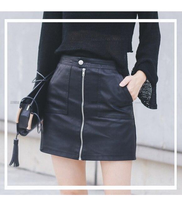 2019 Autumn Winter Women Skirt PU Leather Sexy Mini Skirt With Pockets Zipper A-line Package Hip High Waist Women Clothing 4