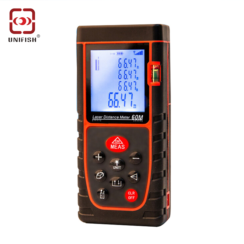 UNIFISH 40m/ 60m 80m/ 100m LCD Display Laser Distance Meter Digital Range Finder Tape Measure with Bubble Level 13 tool