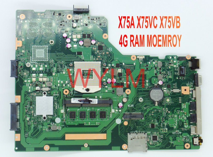 free shipping NEW brand original X75A X75VC X75VB  motherboard MAIN BOARD WITH 4G RAM MEMORY 100% Tested Working Well free shipping new brand original a54c x54c k54c motherboard mainboard main board rev 2 1 4g ram memory ddr3 usb 3 0 tested well
