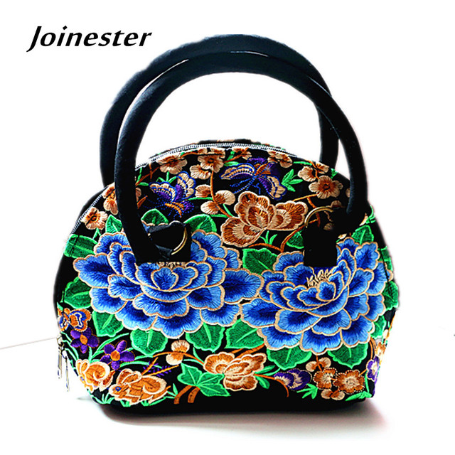 Ladies Vintage Shell Shaped Two Side Floral Embroidery Hand Tote Chinese Ethnic Flavor
