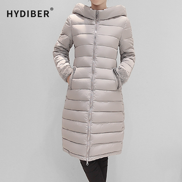 2016 Casaco de Inverno Mulheres Casaco Longo Parkas Com Capuz de Algodão Acolchoado Sólida Emendados Casaco De Pele Preto Elegante Jaquetas Wadded Coats Tops