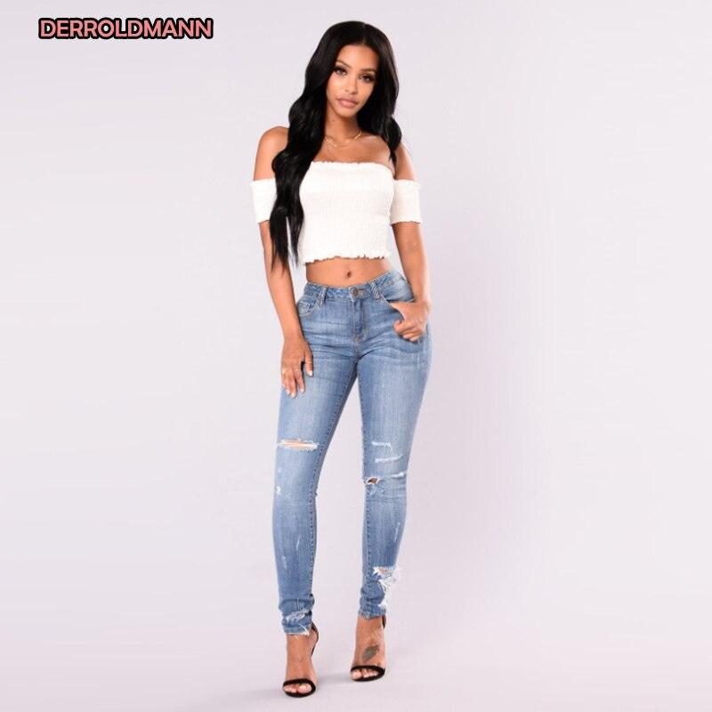 Summer Women Jeans Broken Holes Ripped Denim Zipper Button Pocket Pencil Long Jeans