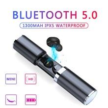 אלחוטי Bluetooth 5.0 אוזניות מיני TWS ספורט אוזניות עם טעינת תיבת אוזניות סטריאו מיקרופון נייד HiFi עמוק בס קול