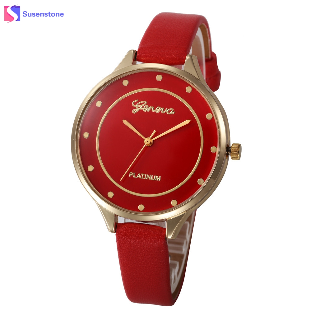 Fashion Thin Faux Leather Band Women Watch Vintage Geneva Analog Quartz Wrist Watch Ladies Casual Watches Clock fashion dress watch elegant crystal dial red faux leather band strap blink quartz analog casual lady women wrist watch stylish