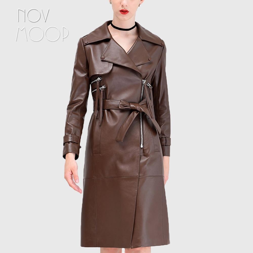 New Women/'s Brown Genuine Leather Soft Lambskin Trench Coat Long Overcoat Jacket