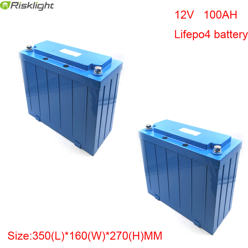 2 шт./лот LiFePO4 глубокий цикл Перезаряжаемые 12 В 100ah литий ионный аккумулятор для хранения солнечной энергии