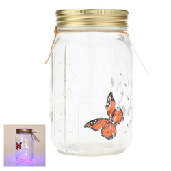 LIXF Hot Romantic Glass LED Lamp Butterfly Jar Valentine Children Gift Decoration Orange