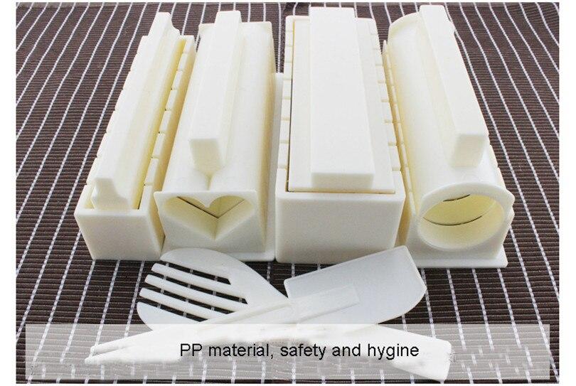 XMT-HOME 1 ensemble kit de moule de fabricant de sushi et couteau d'algues nori ensemble de rouleau de sushi tapis roulant rouleau de riz faisant des outils de cuisine de moule - 5