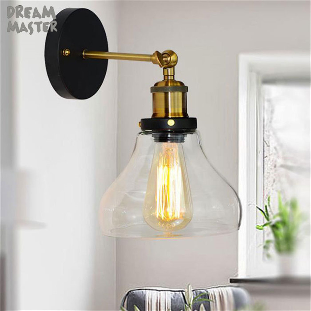 Modern Glass Metal Canopy Sconce Wall Lights Fixtures Retro Vintage Wall Lamp E27 Loft Home Decor indoor Lighting fixtureModern Glass Metal Canopy Sconce Wall Lights Fixtures Retro Vintage Wall Lamp E27 Loft Home Decor indoor Lighting fixture