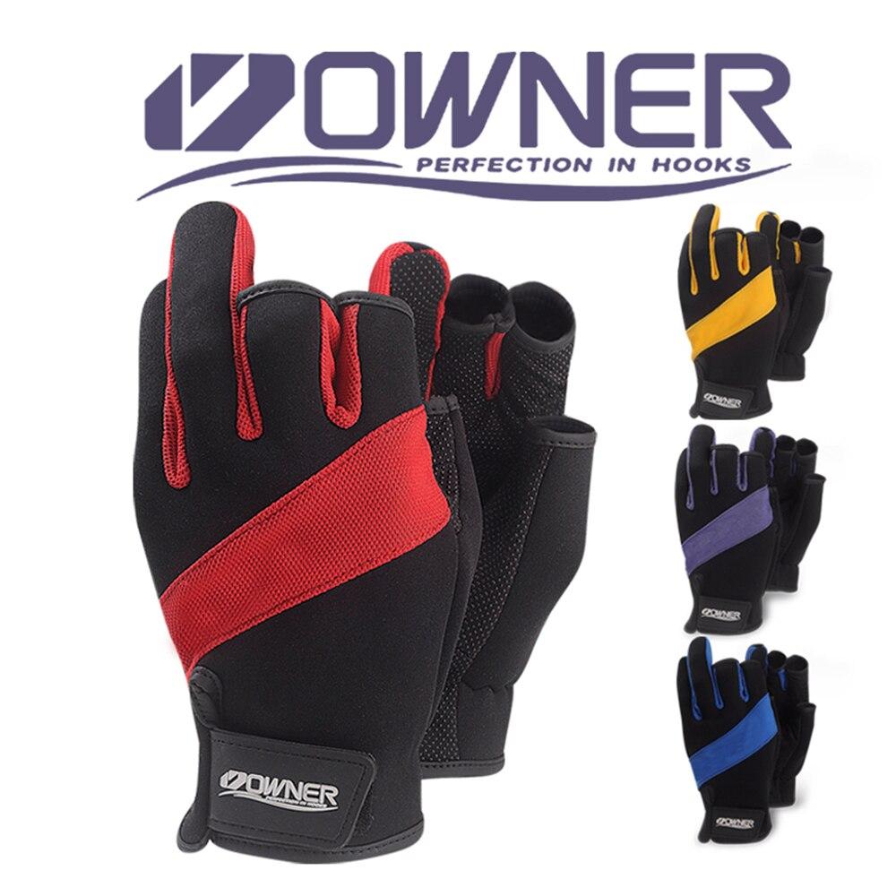 Guantes de pesca antideslizantes para el propietario, guantes de pesca sin dedos con corte tres