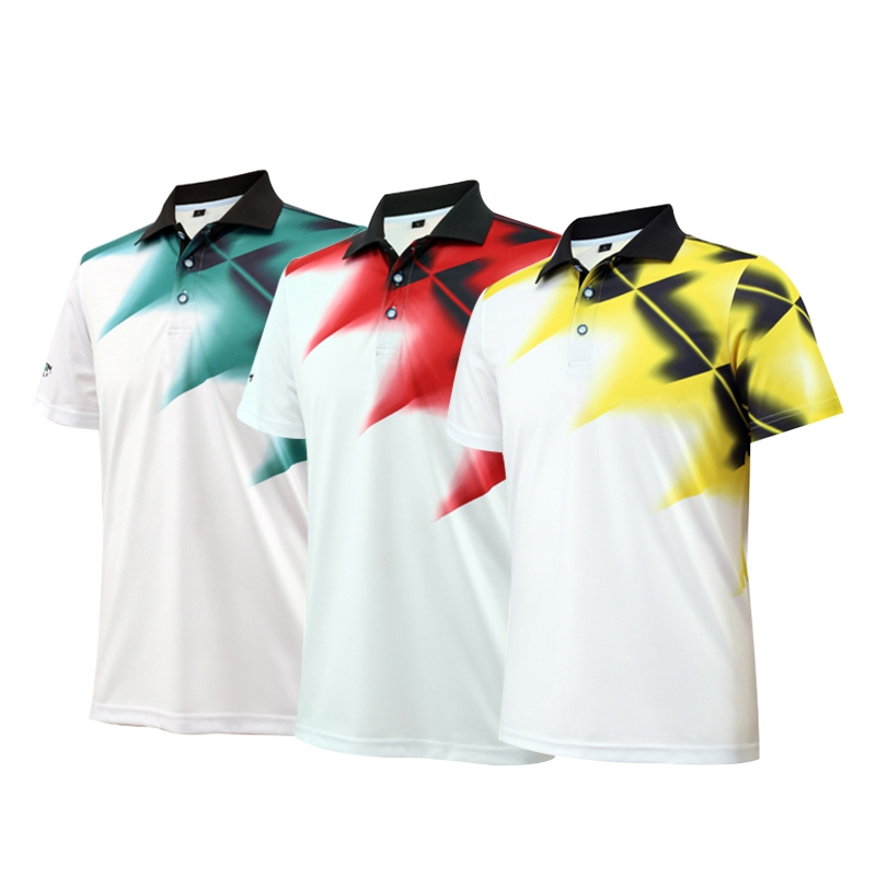 Mens Golf Shirt Apparel Short Sleeve T-shirt Polo Shirt Sunscreen Elastic Breathable Polyester Sport Clothing