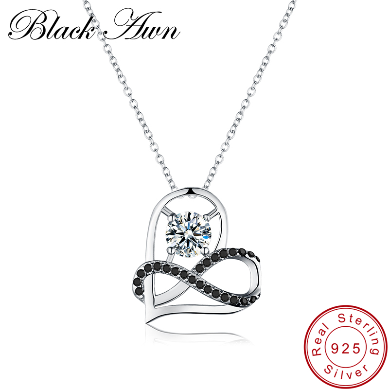 [BLACK AWN] 925 Sterling Silver Jewelry Necklace for Women Female Heart Necklaces Pendants Silver 925 Jewelry P070