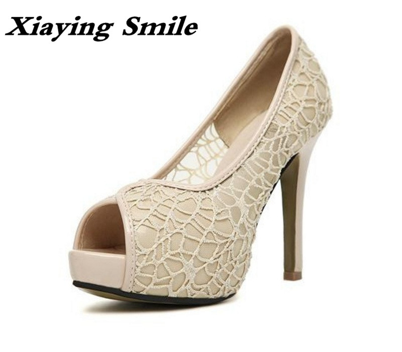 Xiaying Smile Summer Style Fashion Shoes Women Sandals Platform High Thin Heels Pumps Ladies Lace Design Hollow Air Mesh Shoes