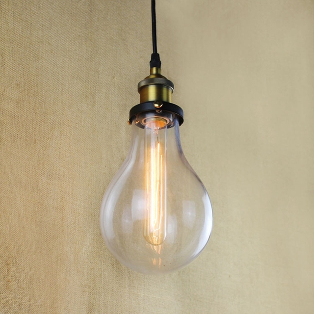 E27 14cm vintage industrial ceiling lamp shade glass pendant e27 14cm vintage industrial ceiling lamp shade glass pendant lights the light bulb shape glass lamps mozeypictures Gallery