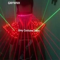 T16 Лазерная Человек Робот проектор Красного лучей очки Зеленые Освещенные лазерной жилет dj dancer плечо красочные свет костюмы бальные