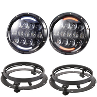 2 PCS 105W 7 Inch Round LED Headlight with White/amber Turn Signal DRL with a pair 7 inch bracket Ring Mounting for Jeep Wrangle