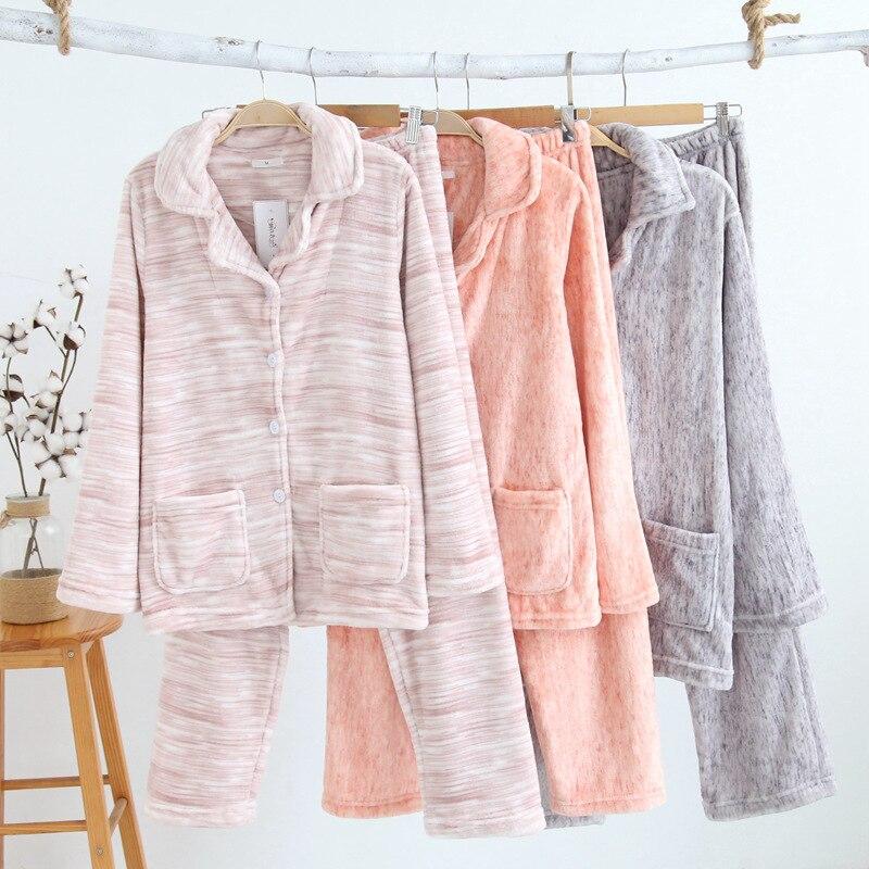 JINUO зима прекрасная пара фланелевые пижамы из двух частей утолщение теплый норки с длинными рукавами Домашняя одежда женские