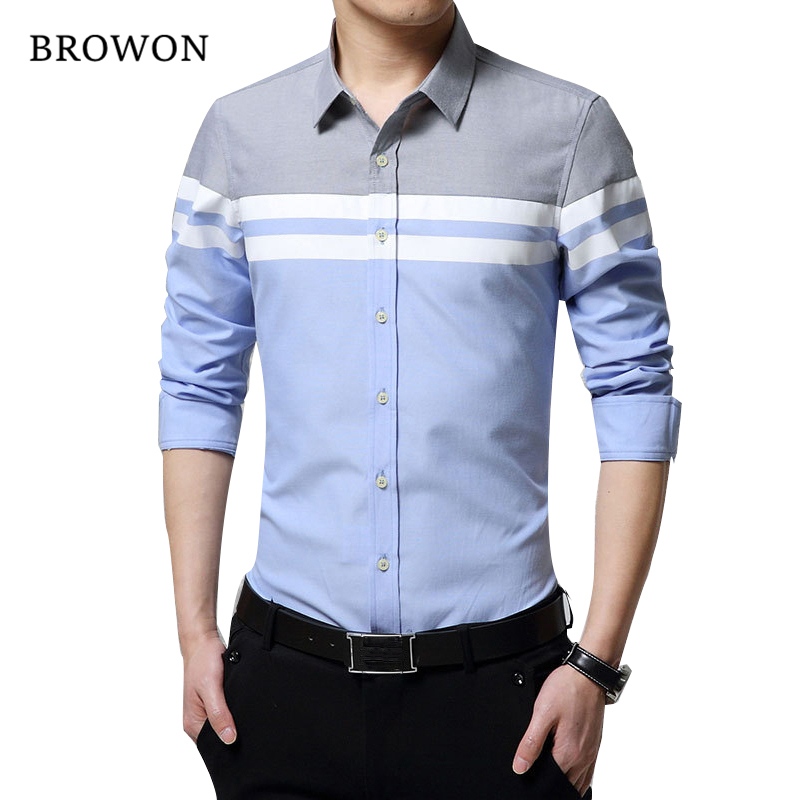2018 Mode Mens Kemeja Merek Pakaian Slim Fit Patchwork Stripe Pakaian - Pakaian Pria