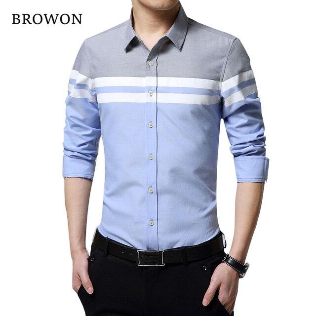 2018 moda de Hombre Camisas ropa de marca Slim Patchwork