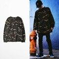 2017 Kanye West Camouflage Oversized Long Sleeve Tee Shirt Men's Hip Hop Streetwear t-shirts Justin Bieber Fashion Camiseta
