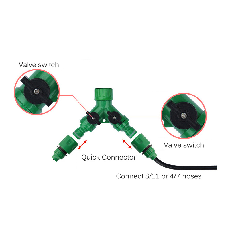 4Pcs Automatic irrigation Watering digital timer Y Connector 3/4 External threadquick connector for 4/7 or 8/11mm hose