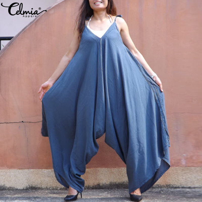Summer Pants Wide Leg Overalls Oversized Women   Jumpsuit   2019 Celmia Strappy V-Neck Casual Pantalon Playsuits Rompers Trousers