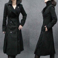 Fashion Cool Personality Long Design Thickening Wool Coat Of Folded Expansion Bottom Double Breasted Long Trench