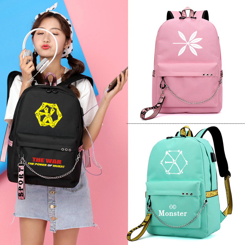 Exo The War Lucky One Monster Korean Style Backpack School Bags Mochila Travel Laptop Bags With Chain Usb Headphone Port