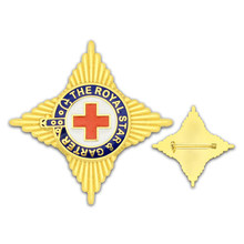 High quality red cross metal badge customizable plated back pin