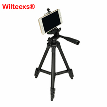 On sale WILTEEXS Universal Portable Tripod 4 Sections Tripod+Phone Holder+carry bag For iphone 7 6 5 Smartphone Canon Sony Nikon Camera