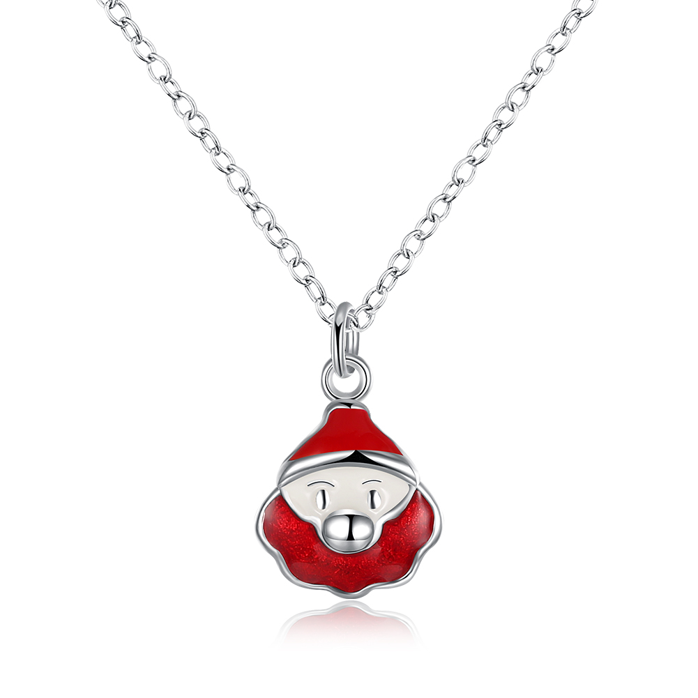 lureme font b Women s b font Silver Plated Jewelry Santa Claus Christmas font b Necklace