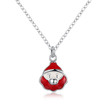 lureme Women's Silver Plated Jewelry Santa Claus Christmas Necklace for Woman Girl (nl004313)